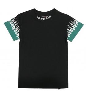Vision of Super t-shirt nera fiamme verdi