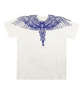 Marcelo Burlon Kids of Milan t-shirt bianca ali bluette