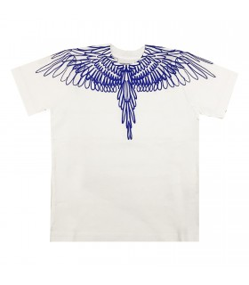 Marcelo Burlon t-shirt bianca ali bluette
