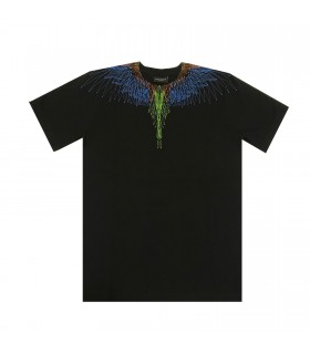 Marcelo Burlon Kids of Milan t-shirt nera ali stilizzate