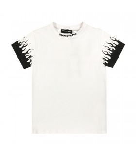 Vision of Super t-shirt bianca fiamme nere