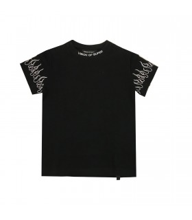 Vision of Super t-shirt ricamo fiamme bianche