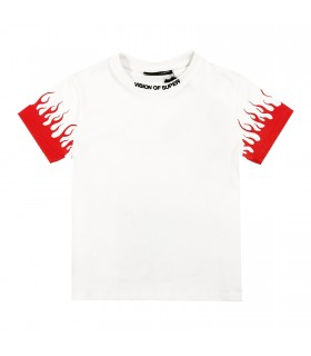 Vision of Super t-shirt bianca fiamme rosse