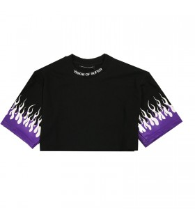 Vision of Super t-shirt cropped fiamme viola