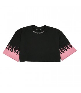 Vision of Super t-shirt cropped fiamme rosa