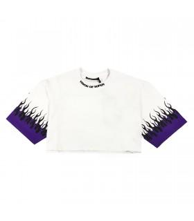 Vision of Super t-shirt cropped bianca e viola