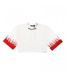 Vision of Super t-shirt cropped bianca e rossa