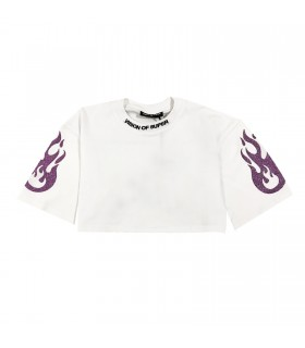 Vision of Super t-shirt cropped bianca viola