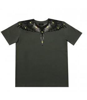 T-shirt grigia ali di Marcelo Burlon Kids of Milan