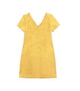 Abito scollo a V giallo di Marinella Galloni Fashion Designer