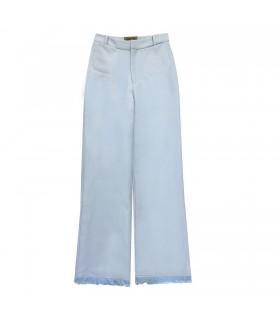 Pantaloni Azzurro con Frange di Marinella Galloni Fashion Designer