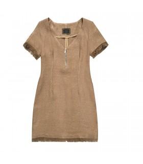 Abito scollo a V naturale di Marinella Galloni Fashion Designer
