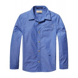 SCOTCH SHRUNK CAMICIA  CHAMBRAY AZZURRA