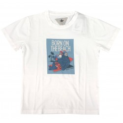 "MACCHIA J T-SHIRT BIANCA ""BORN ON THE BEACH"""